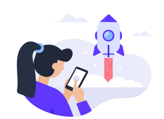 Woman with phone and a rocketship illustration/graphic