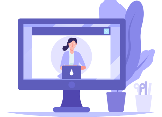 Woman presenting on monitor illustration/graphic