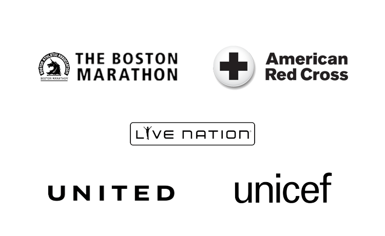 Boston Marathon, American Red Cross, Live Nation, United, Unicef